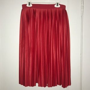 H&M Pleated Red Midi Skirt